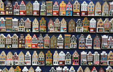 Poster - Holland Souvenirs, a bunch of colored Dutch houses
