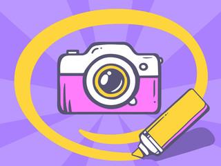 Vector illustration of marker drawing circle around photo camera