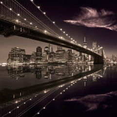 Printed kitchen splashbacks Brooklyn Bridge Brooklyn Bridge sunset New York Manhattan
