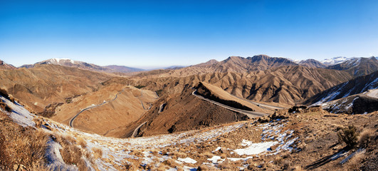 Atlas mountains covered with snow panorama, Morocco.
