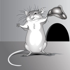 Mouse holding hat
