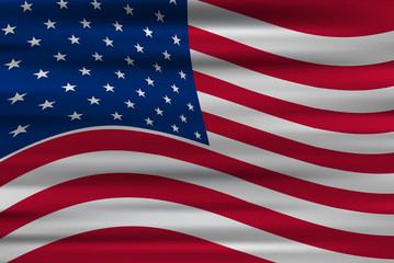 Wavy flag of United States of America, vector background