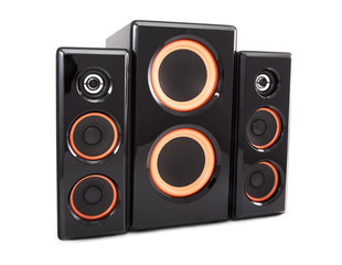 Columns and a subwoofer isolated on a white background