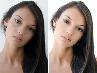 Portrait of a girl before and after retouching with photoshop.