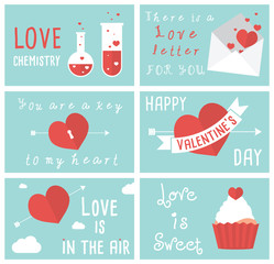 Set of flat vector designs of Valentines day greeting cards