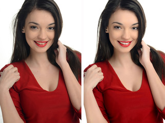 Woman smiling before and after retouching with photoshop.