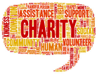 Word cloud containing words related to charity, assistance