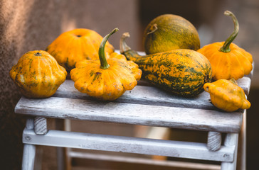 photo of small pumpkins lying on wooden board at yard
