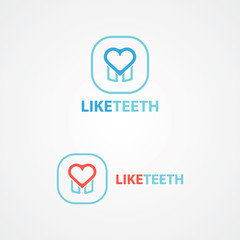 Logo combination of a tooth and heart.