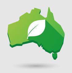 Green Australia map shape icon with a leaf