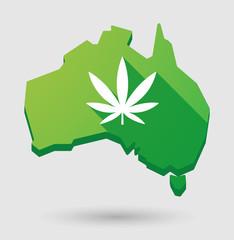 Green Australia map shape icon with a maarijuana leaf