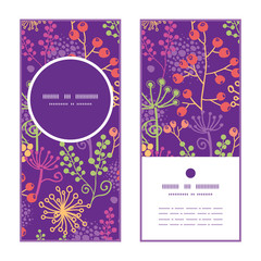 Vector colorful garden plants vertical round frame pattern
