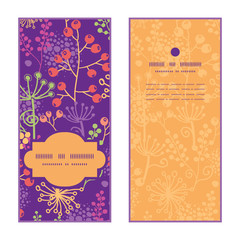 Vector colorful garden plants vertical frame pattern invitation