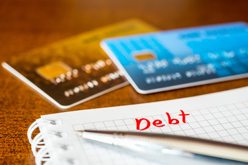 Debt payments, the calculation of the balance, a credit cards