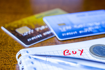 What to buy, ideas for shopping, credit cards with a pen