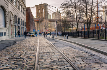 Tram Track on a Cobbled Street in Brooklyn