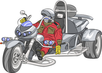 Vector motorcyclist.