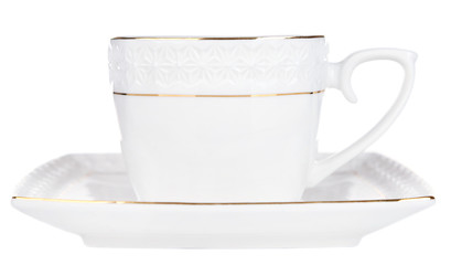 Cup with saucer isolated on white