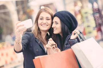 Happy Women Taking Selfie after Shopping