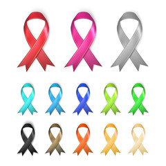 Awareness Ribbons - multiple colors concept