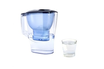 jug with water filter isolated on white background