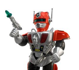 Silver toy robot closeup