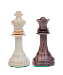 The white king and the black queen chess pieces