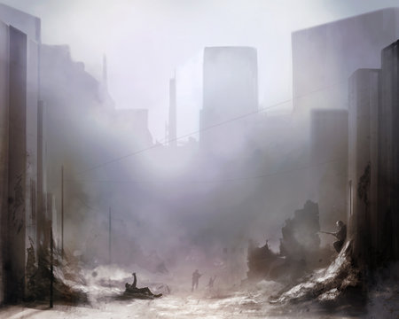Daylight ruined city scene battlefield art background with soldiers.