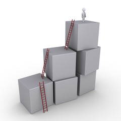 Successful businessman and boxes with ladders