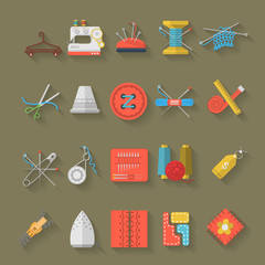 Flat design icons collection of sewing items