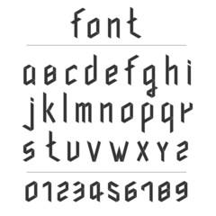 Retro 3D black font. lowercase type.