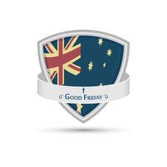 Good Friday the Australian flag on the shield