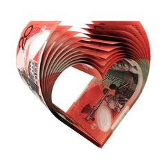 20 Australian Dollars Bills in a Shape of Heart
