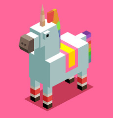 Unicorn. 3D Pixelate