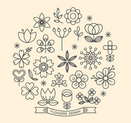 Flower icons outline style vector