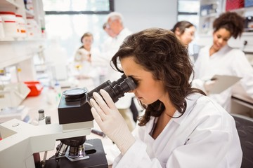 Science student looking through microscope in the lab