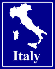 silhouette map of Italy