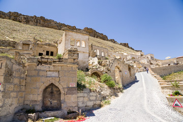 "Urgup. Ruins ""facades"" abandoned ""cave houses"""