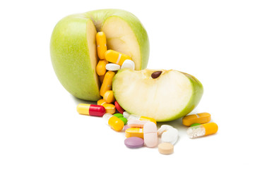 Pills and apple