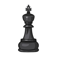 Vector Single Cartoon Chess Figure - King