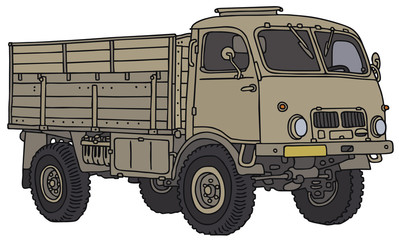 Old miliary truck, vector illustration