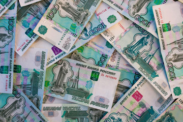 Thousands of Russian roubles banknotes