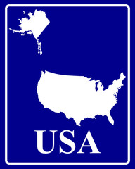 silhouette map of USA