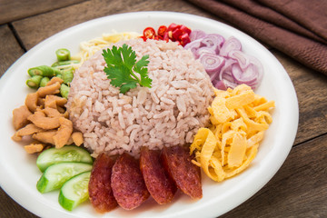 Rice mixed with shrimp paste, Thai food style