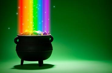 Pot of Gold: Leprechaun Treasure with Rainbow and Magic