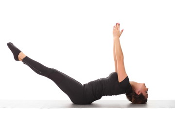 woman training yoga