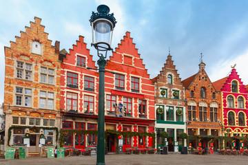 Photo sur Aluminium Bruges Christmas Grote Markt square of Brugge, Belgium.
