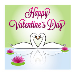 Happy Valentine`s Day - swans
