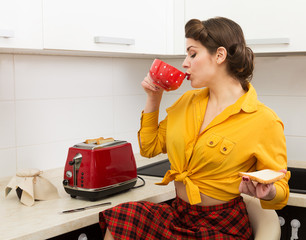 Stylish pin-up housewife