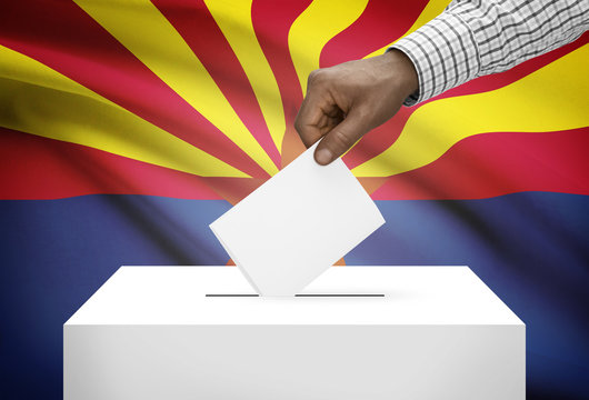 Ballot box with US state flag on background - Arizona